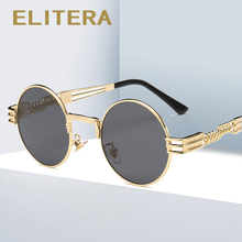 ELITERA פאנק מקוטב משקפי שמש בציר מתכת עגול שמש משקפיים Eyewear עבור נשים גברים Steampunk יוקרה מותג