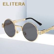 Elitera パンク偏光サングラスヴィンテージメタルラウンド太陽眼鏡男性スチームパンク高級ブランド