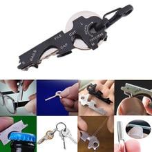 Engrenagem chaveiro mosquetão 8 ferramenta em 1 chaveiro multiuso multifuncional quickdraw gadget ferramenta multi multitool bolso clipe