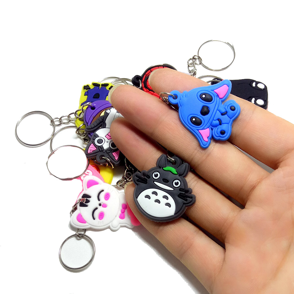 50PCS / 100PCS / 200PCS / 500PCS Mix PVC Cartoon Key Chain Key Ring Children Anime Figure Keychain Key Holder Kid Toy Pendant