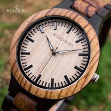 BOBO kuş Mens saatler üst marka lüks abanoz ahşap İzle kuvars saatler severler için yıldönümü hediyesi relojes mujer
