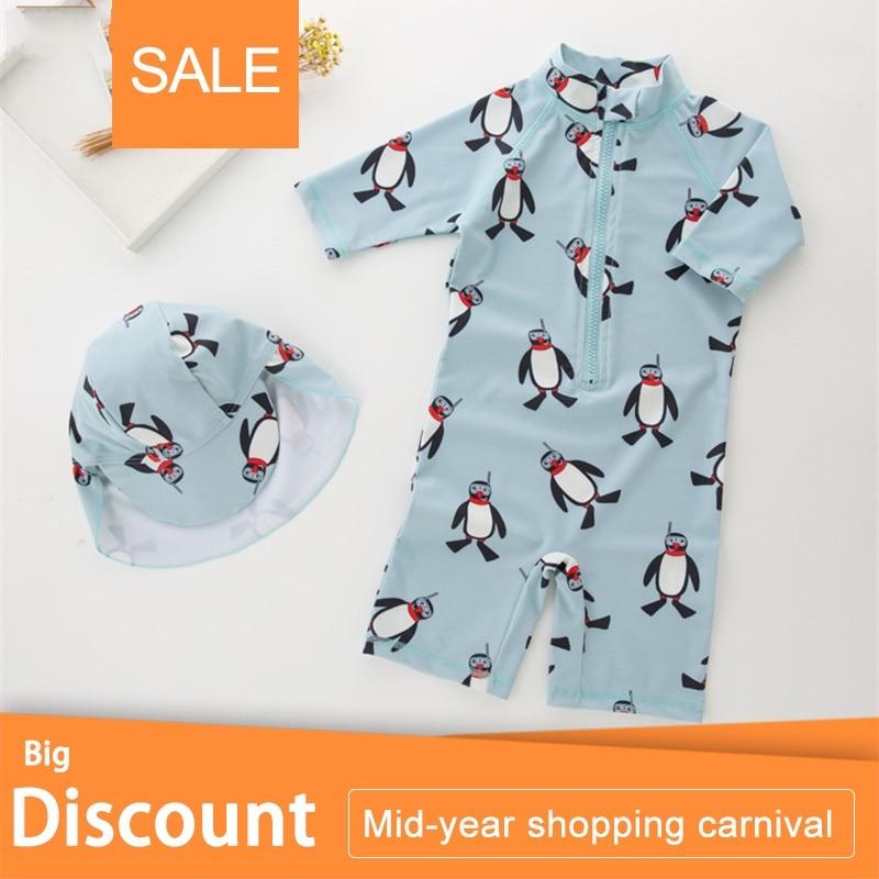 New Summer Boy Baby Swimwear+Hat 2Pcs Set Penguin Animals Swimming Suit Infant Toddler Kids Children Swimwear Kids Beach Bathing