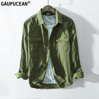 97% Cotton 3% Spandex Man Denim Shirt Quality Spring Autumn Long Sleeve Male Pocket Army Green Men Jean Casual Cowboy Shirts