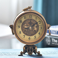 European Retro Table Clock Living Room Office Fireplace Bedroom Desk Clock Vintage Clock Table Metal Mute Table Watch Best Gift