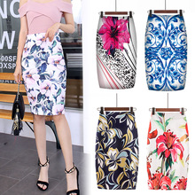 Digital Printed Pencil Skirt For Women Faldas Mujer Moda 2020 Floral Pencil Summ
