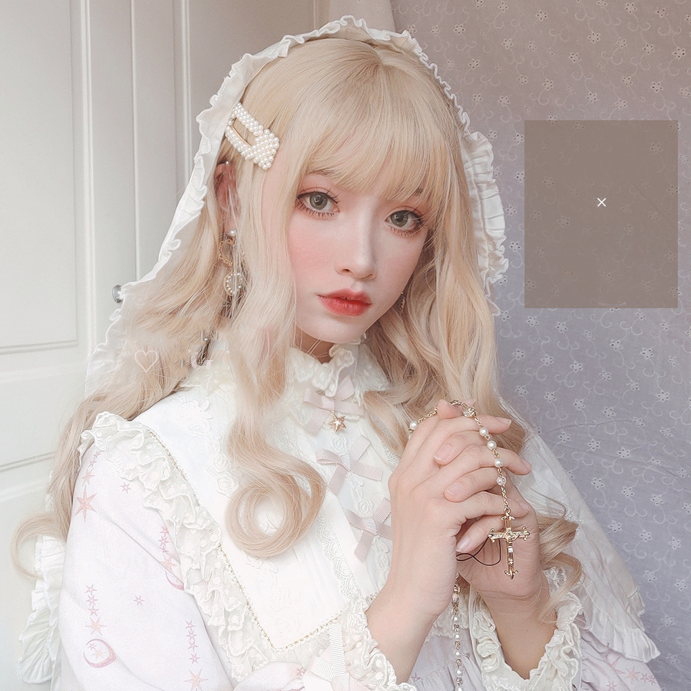 MANWEI Blonde Wig With Bangs Long Wave Synthetic Hair Custom Party Cosplay Lolita Wigs For Black/White Women Heat Resistant