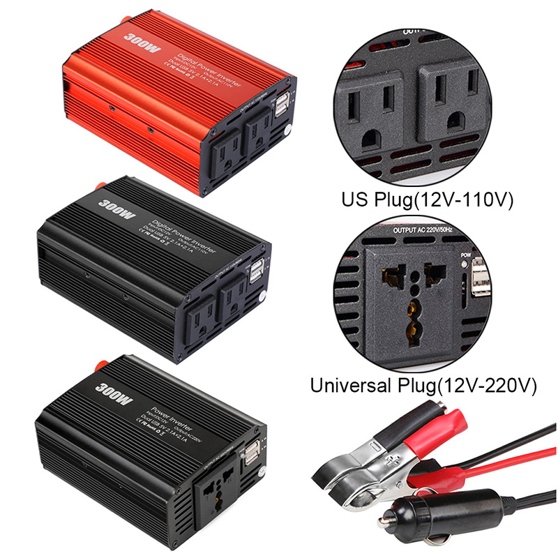 300W Car Power Inverter Converter DC 12V To AC 110V/220V With 2.1A Modified Sine Wave Control Dual USB Charger