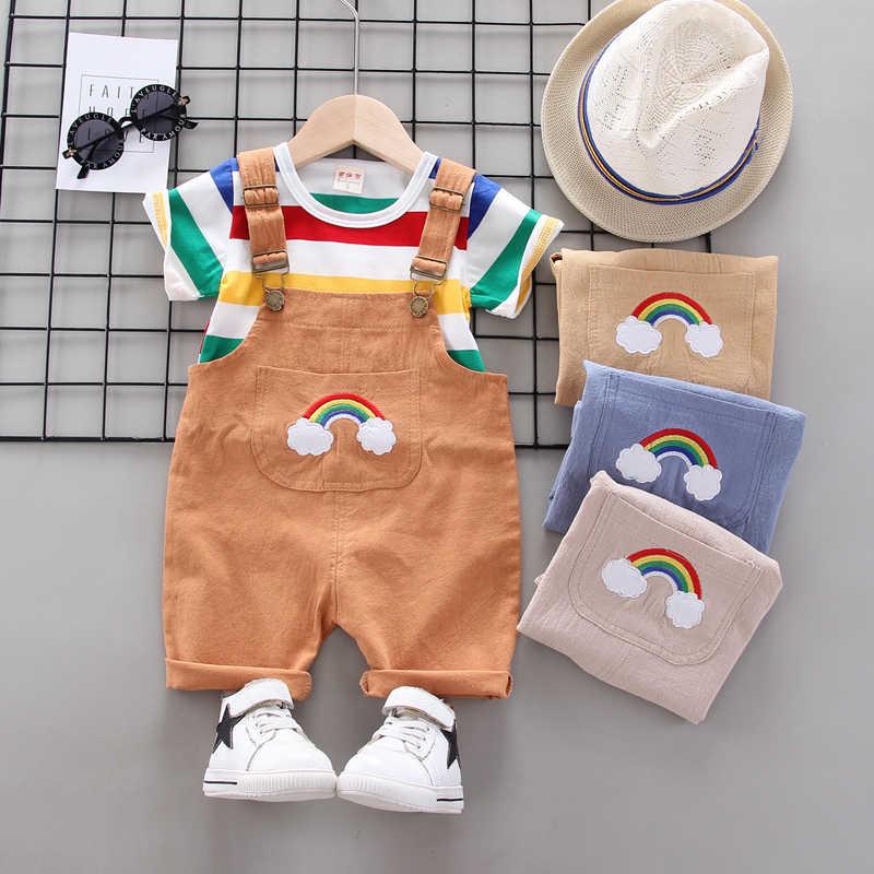 BibiCola letni zestaw ubrań dla chłopców Cartoon maluch ubrania dla dziewczynki T-shirt + spodenki na szelkach odzież dla niemowląt zestaw dres stroje 2020