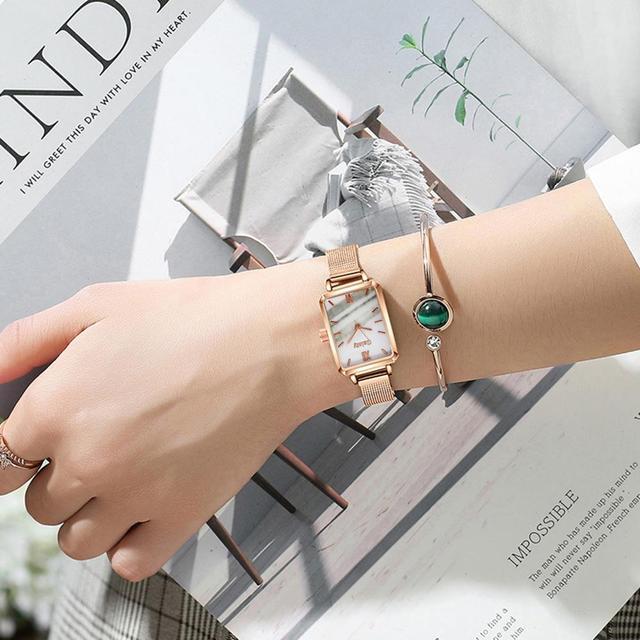 Marca Gaiety-relojes cuadrados de cuarzo para mujer, conjunto de pulsera, esfera verde, sencillo, malla de oro rosa, de lujo 2