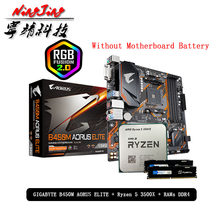 AMD Ryzen 5 R5 3500X CPU + GA B450M AORUS ELITE anakart + Pumeitou DDR4 8G 16G 2666MHz RAMs takım soket AM4 olmadan soğutucu