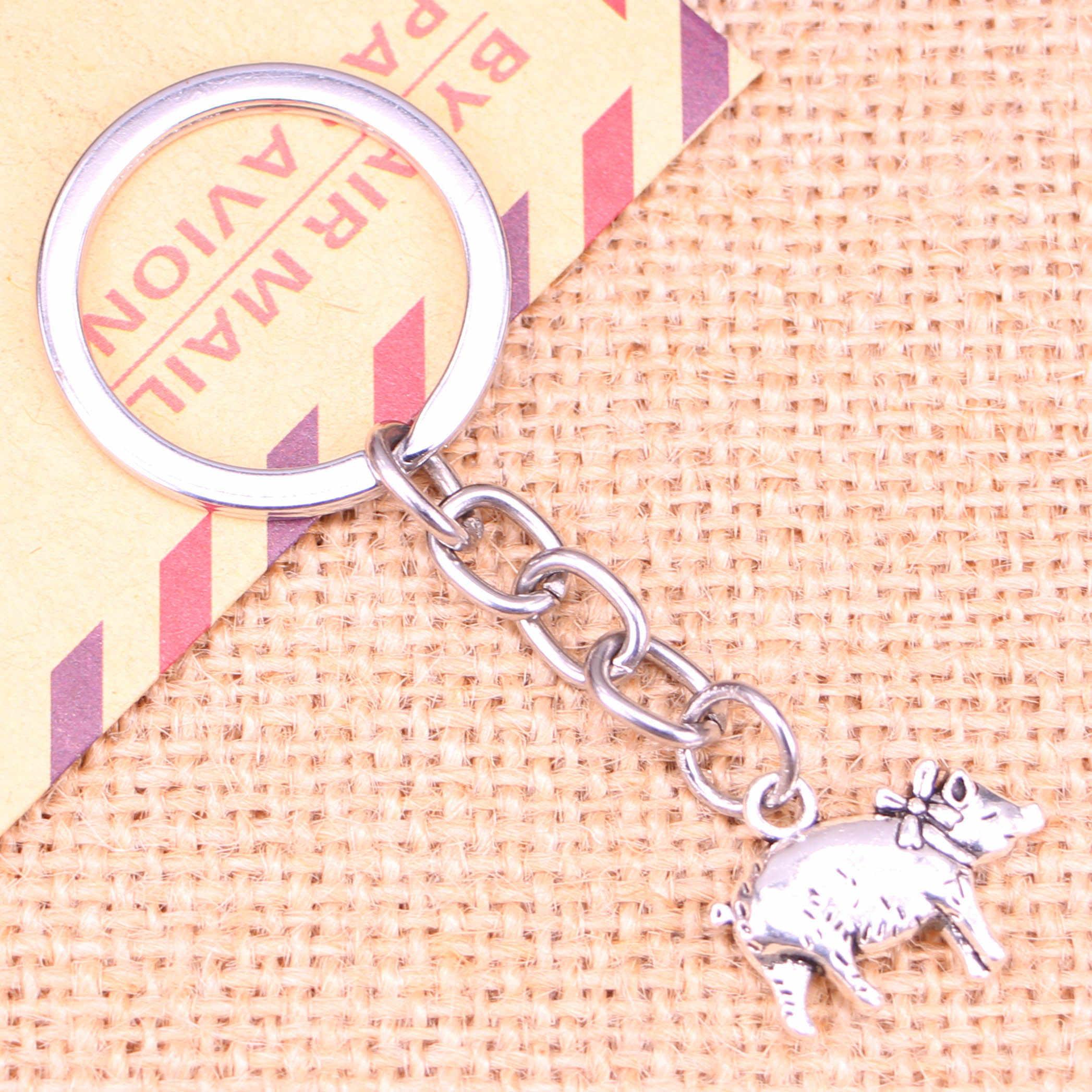 20 piezas nuevo llavero de moda 21x16mm 3D pig colgantes DIY hombres joyería coche llavero anillo sostenedor recuerdo para regalo