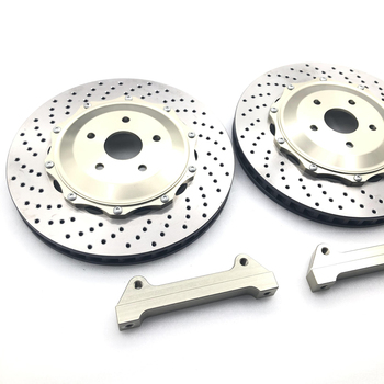 High-performance brake disc with champagne-colored center caps and brackets for the BMW-E90/E92 and E46-19 inch rear wheels image