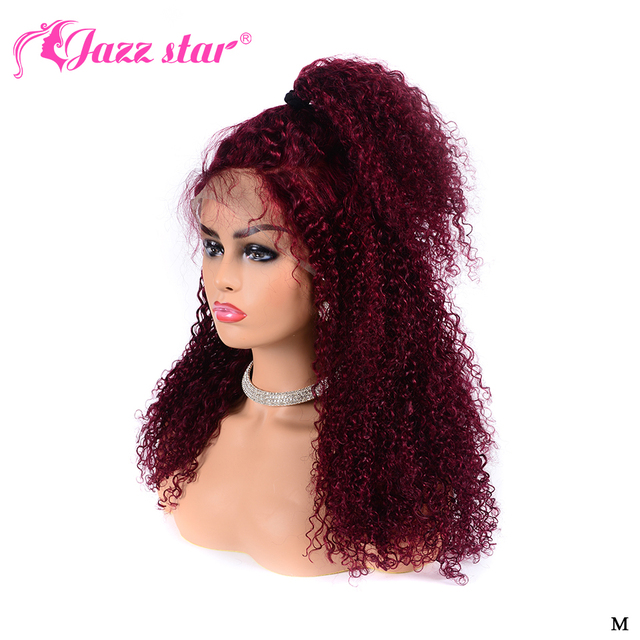 $ US $53.67 burgundy lace front wig 99J Brazilian Kinky Curly 13x4 Lace Front Human Hair Wigs Pre Plucked Lace Wigs Jazz star Non-Remy