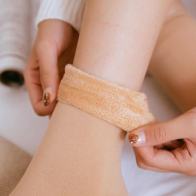 2019 Wanita Musim Dingin Hangat Menebal Termal Wol Mid Stoking Salju Kaus Kaki Mulus Beludru Sepatu Lantai Tidur Kaus Kaki Hot Sale