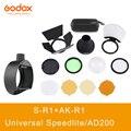 Godox AK-R1 + S-R1 двери сарая, Snoot, цветные фильтры, отражатель, соты, шаровой рассеиватель наборы для Godox AD200 H200R V1 вспышка