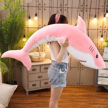 Nuevo encantador juguete de felpa de tiburón de gran tamaño, muñeco de peluche de pez de dibujos animados suave, cojín para sofá, juguete tranquilizador, regalo de chico de alta calidad