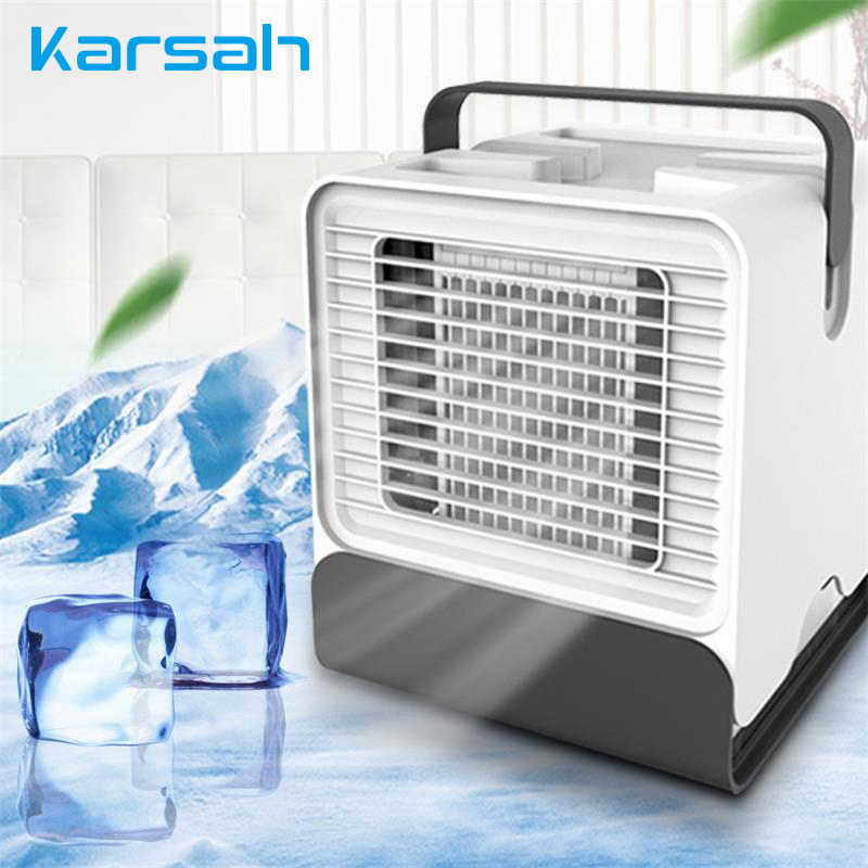 Usb Personal Air Cooler Mini Air Conditioner Portable Air Fresher With Ice Cubes Led Night Light Fan Device Home Office Bedroom Fans Aliexpress