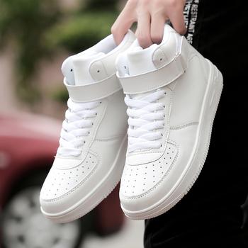Markowe męskie modne buty w stylu casual High Top Sneaker 2019 jesień zima nowe męskie buty wysokiej jakości antypoślizgowe buty sportowe Zapatillas tanie i dobre opinie TANTU RUBBER Szycia Mieszane kolory Mesh Wiosna jesień Hook loop Mieszkanie (≤1cm) Pasuje prawda na wymiar weź swój normalny rozmiar