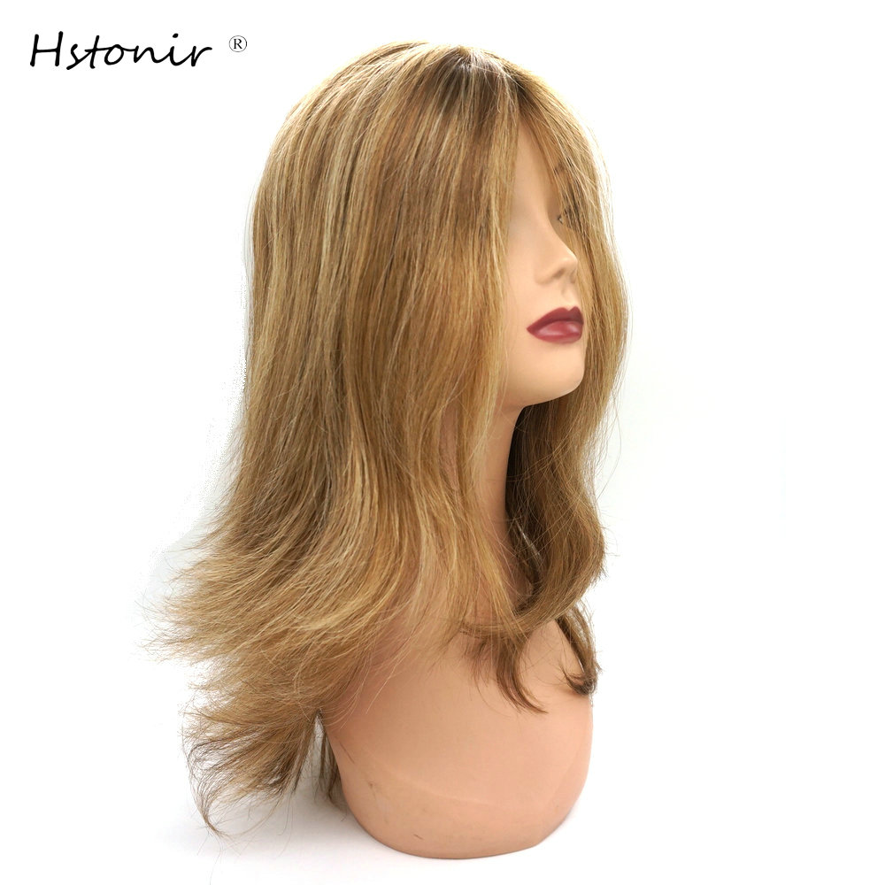 Hstonir Kosher Wig Perruque Juive Demi Perruque Silk Top Layered Wig Perruque Casher Mezuzah European Remy Hair Jewish G028