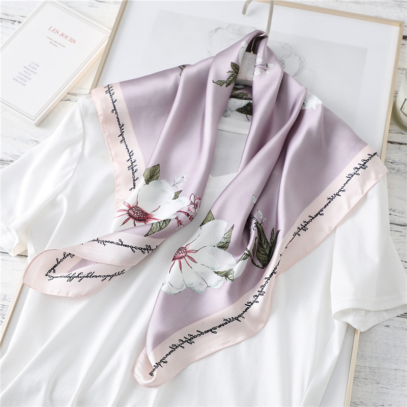 2020 New Silk Scarf For Lady Neck Hair Band Floral Print Shawls And Wraps Foulard Women Neckerchief Bandana Scarves