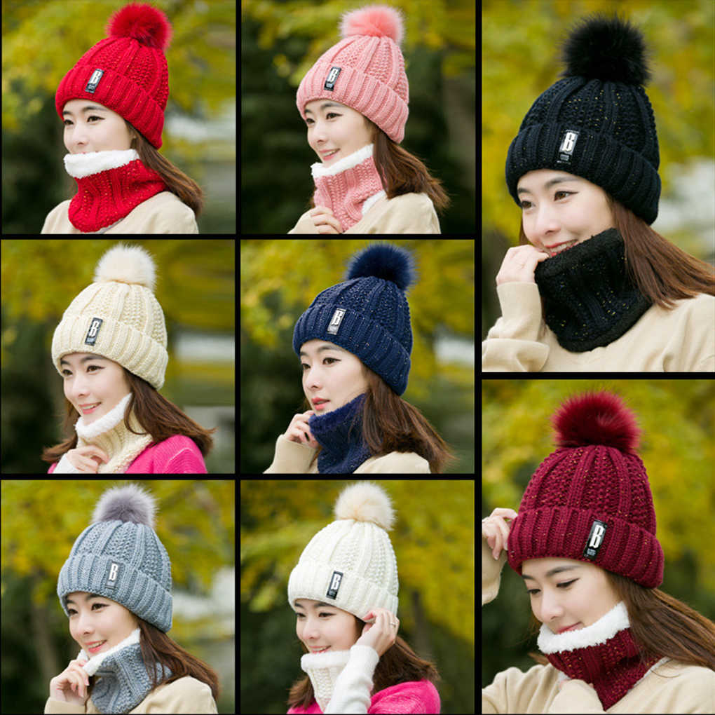 Cou chaud tricoté hiver chapeau casquette de Ski pour femmes fille laine bonnets Skullies lettre B velours chapeau masque Bonnet écharpe chapeau