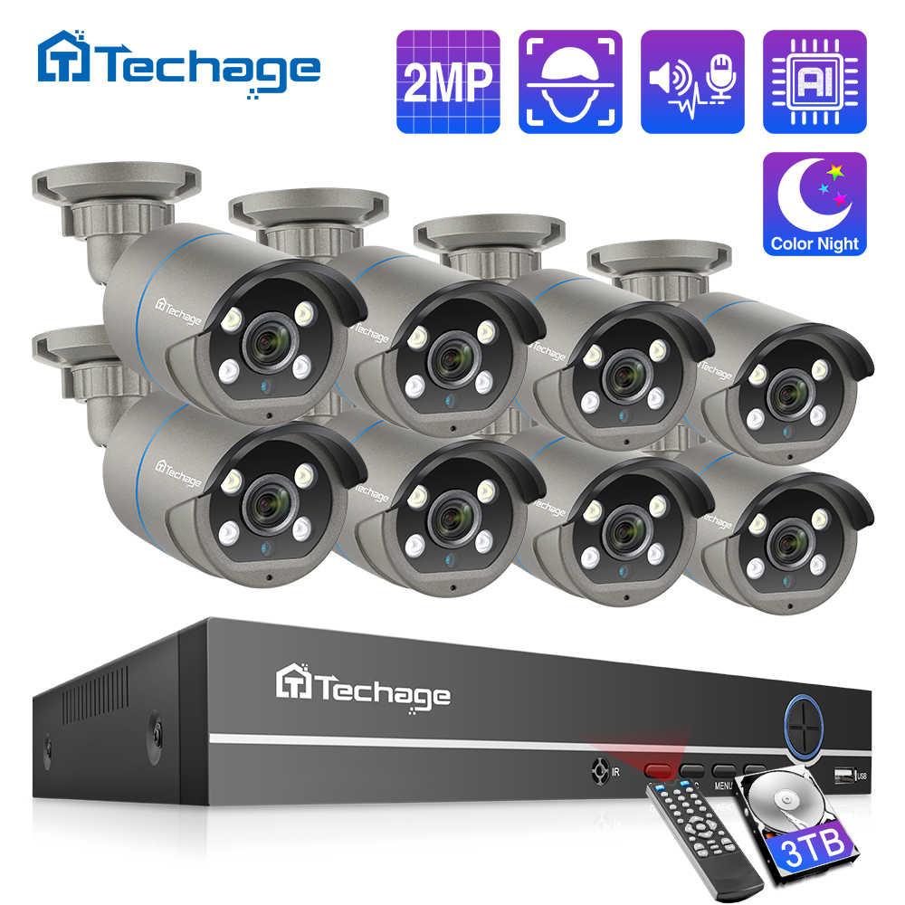 Techage H.265 8CH 1080P POE طقم NVR CCTV نظام الأمن اتجاهين الصوت 2MP AI IP كاميرا الأشعة تحت الحمراء في الهواء الطلق مجموعة مراقبة الفيديو 2 تيرا بايت HD