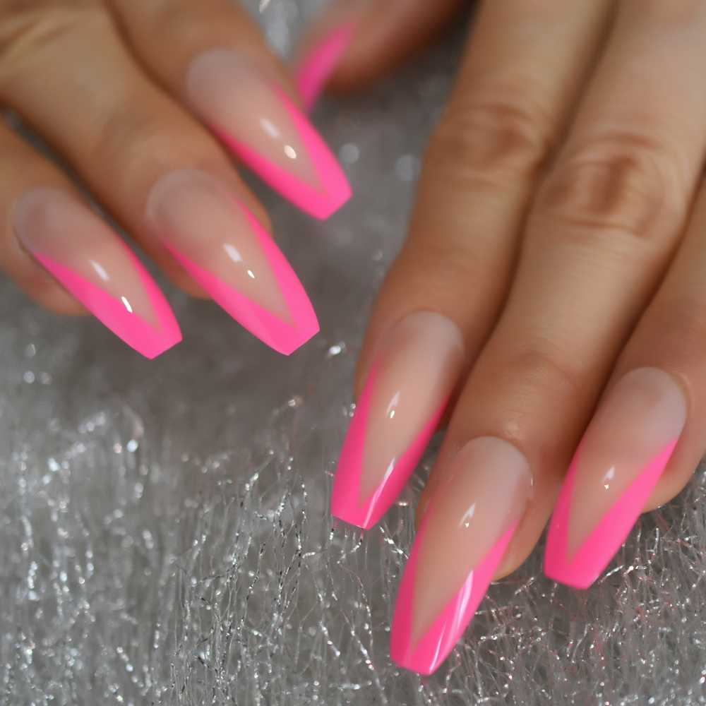 Glossy Rose Pink French Press On False Nails Extra Long Ballerina Coffin Uv Gel Glue On Fake Fingersnails Extention Tool Aliexpress