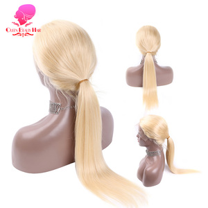Image 3 - Парики из человеческих волос на полной сетке, 8   28 дюймов, Длинные бразильские прямые, Реми, 613 блонд, Омбре, цвет, безклеевые, искусственные на полной сетке
