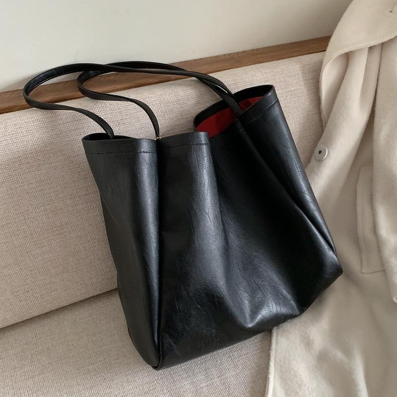 Burminsa Korean Style Big Soft Shoulder Bags For Women Large Capacity Shopper Tote Bags High Quality PU Leather Ladies Handbags