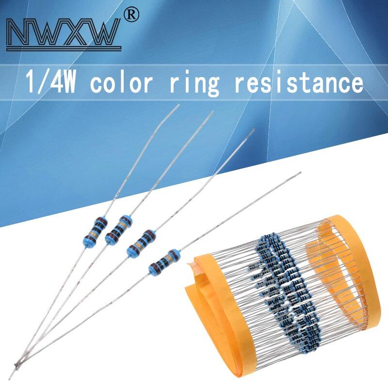 100 шт., металлический пленочный резистор 1/4 Вт, 1R ~ 10M, 1%, 100R, 220R, 1K, 1,5 K, 2,2 K, 4,7 K, 10K, 22K, 47K, 100K, 100, 220, 1K5 2K2, сопротивление 4K7 Ом