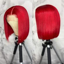 Perruque Bob Lace Front Wig brésilienne naturelle, cheveux lisses, sans colle, couleur rouge, 13x4x1, pre-plucked, pour femmes noires