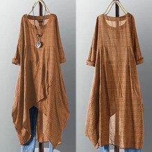 ZANZEA Asymmetrical Midi Dress Womens Check Dress 2021 Female Long Sleeve Plaid Vestidos Summer Sundress Casual Shirt Robe 5XL