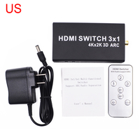 4K 1.4 HDMI Switch 3x1 HDMI Switch Audio Extractor ARC 3 Port HDMI Switch Remote 4K For Computer TV XBox