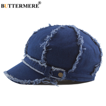 BUTTERMERE Female Denim Octagonal Hat Women Winter Retro Newsboy Cap Ladies Blue Japanese Newspaper Painter