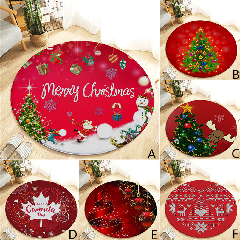 60cm Christmas Rug Carpet Kitchen Door Bathroom Carpet Floor Mat Printing Carpets For Living Room Dieren Vloerkleed 30S13