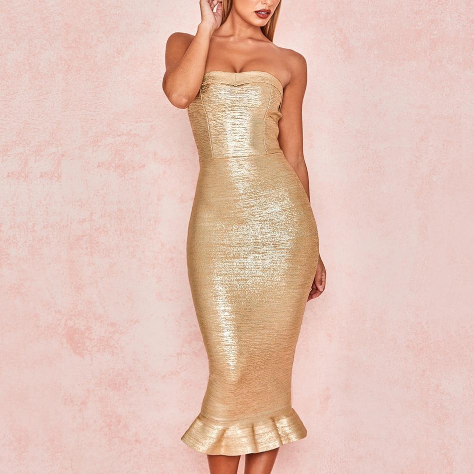 Adyce 2020 New Summer Women Gold Runway Bandage Dress Vestido Sexy Sleeveless Strapless Club Dress Elegant Celebrity Party Dress