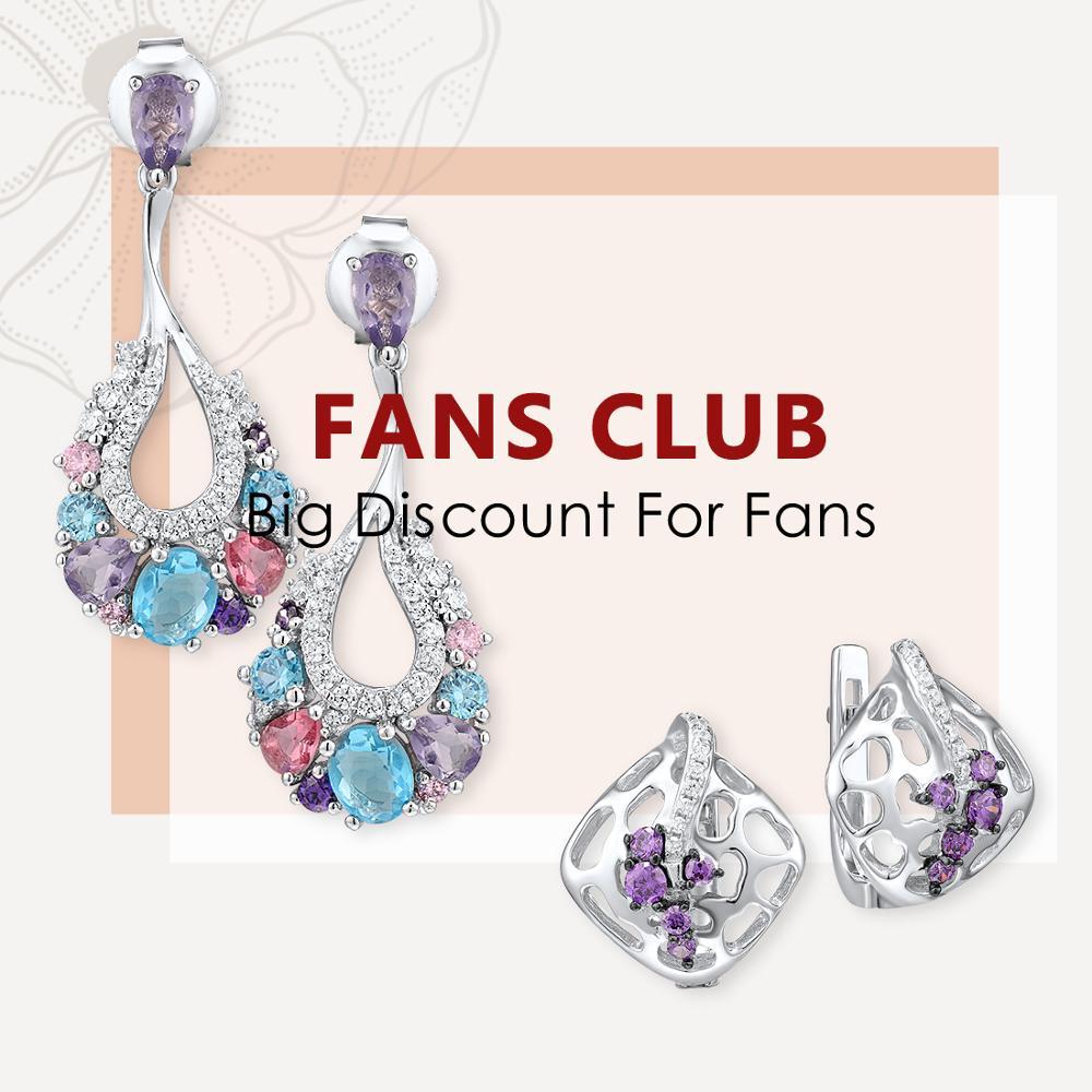SANTUZZA Silver Earrings For Women Pure 925 Sterling Silver Colorful Stones Enamel Earrings Elegant Sparkling Fine Jewelry