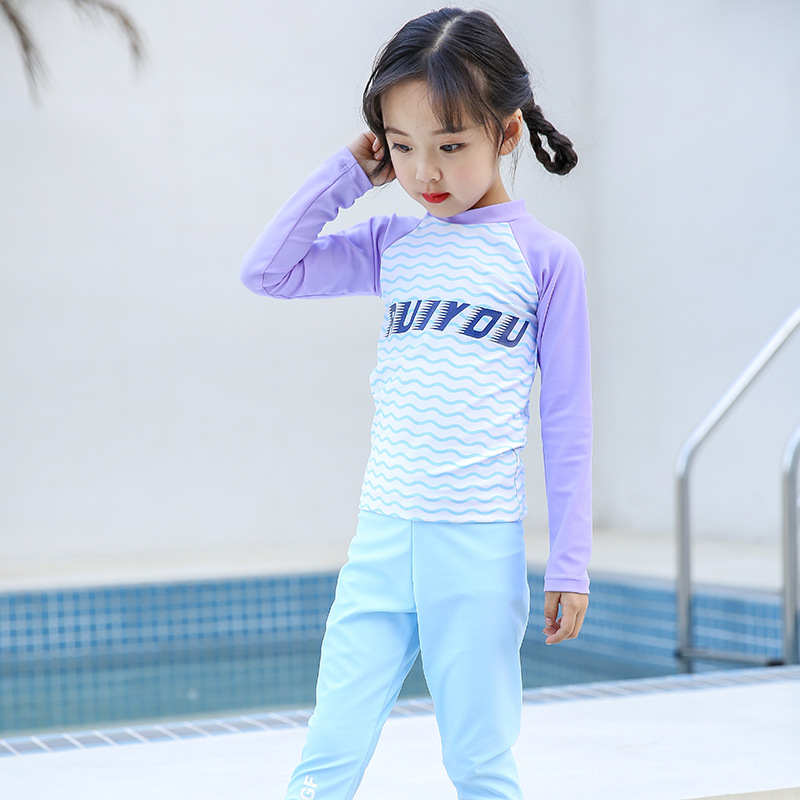 New Style Children Girls Lettered Long Sleeve Trousers Sun-resistant Quick-Drying Split Type Wetsuit Diving Suit
