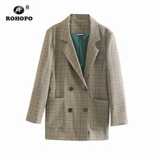 ROHOPO Duble Breast Buttons British Academy Striped Blazer Houndstooth Vintage Ladies Slim Long Outwear # 1019