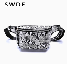 SWDF Women Serpentine Fanny Pack Womens Belt Bag Lady Banana Waist Leahter Holographic Waists Packs Chest Phone Pouch Nerka