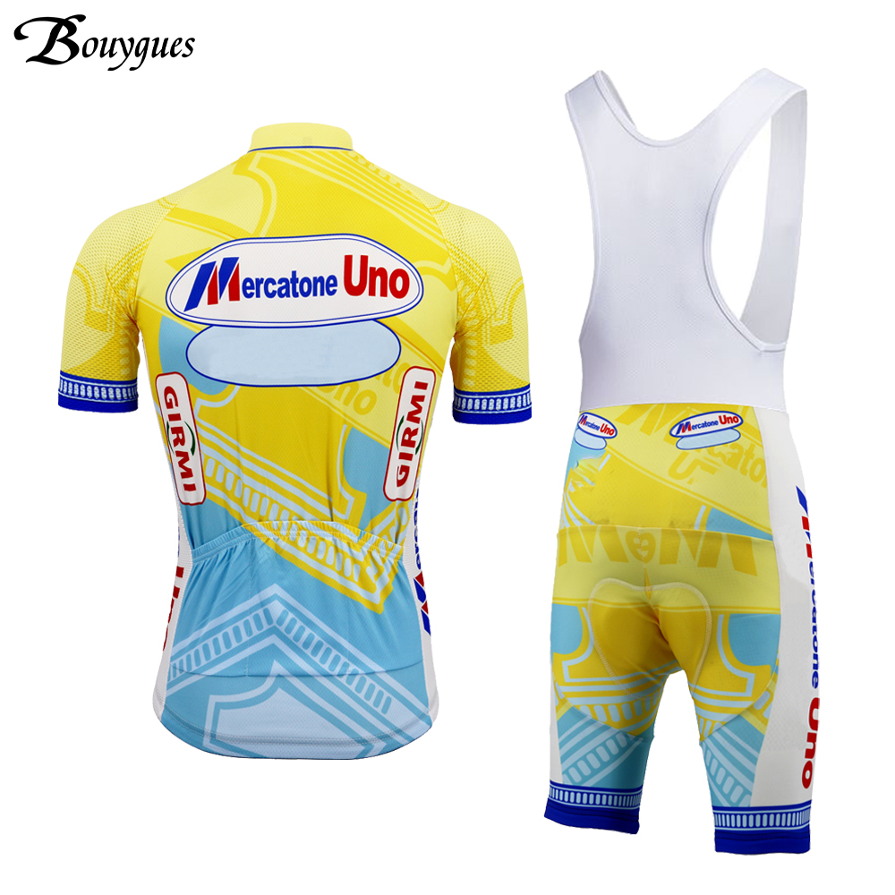 Image 2 - Pro Summer Retro cycling jersey set yellow ropa ciclismo hombre Top quality cycling clothing 9D gel pad MTB jersey Mercatone UNOCycling Sets   -