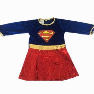 Image 4 - Kids Superhero Cosplay Costumes Super Girls Dress Shoe Covers Suit Superwoman Dress Woman Super Hero For Kids Halloween Clothes
