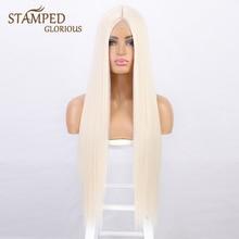 Pelucas sintéticas largas y lisas para mujeres, pelo de Cosplay de alta temperatura, parte media Natural, color negro y Rubio