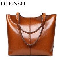 Новинка 2020, женские сумки на плечо DIENQI из натуральной кожи, роскошные женские кожаные сумки, Дамская большая дизайнерская Коричневая Сумка тоут с верхней ручкой