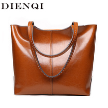Dienqi 2020 新しい女性の本革ショルダーバッグ高級女性の革のハンドバッグビッグデザイナーブラウントップハンドルバッグトート