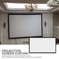 Tela dobrável portátil do projetor de 16:9 parede montada cinema em casa cinema 3d tela projeção hd lona