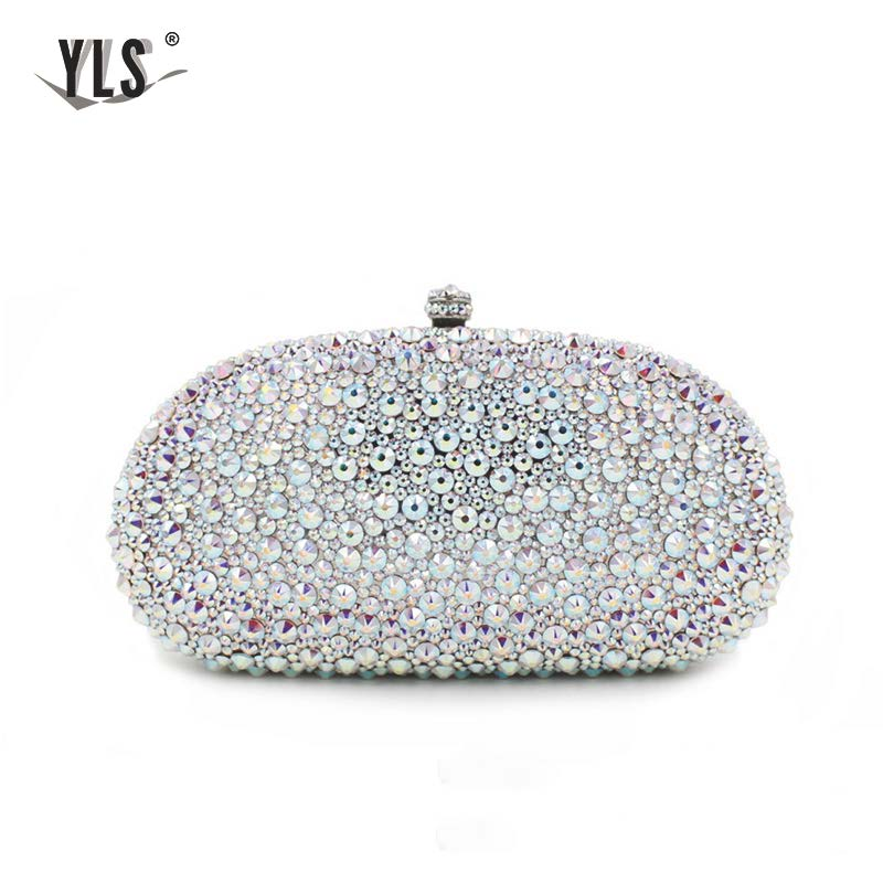 YLS Silver Bag Women Fashion AB Crystal Diamond Bag Luxury Bride Wedding Clutch Purses Celebrity Club Party Evening Handbag
