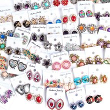 Womens Fashion 30pairs/lots Crystal Stud Jewelry Earrings European and American Mix Style