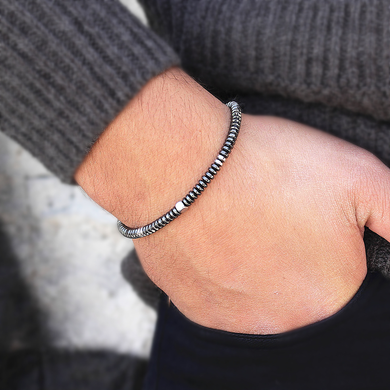 2020 Новый роскошный мужской браслет ручной работы 4 мм, гематитовый браслет из бисера и браслеты для мужчин и женщин, подарок ювелирных издел...