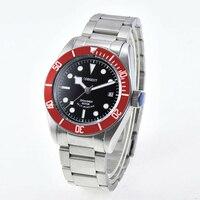 41mm fashtion herren Seagull/Miyota automatische mechanische armbanduhren stahl bands rote lünette saphirglas kalender uhren männer-in Mechanische Uhren aus Uhren bei
